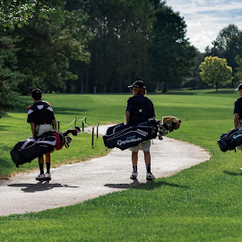Eagle Vale game... by Adam Northrup - Sports & Fitness Golf ( fairway, walking, threesome, sunny, shadow, golf,  )