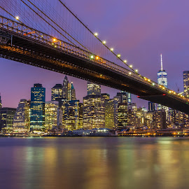 Brooklyn Bridge by Photographyby JJ - City,  Street & Park  Skylines ( lights, urban, skyline, long exposure, night, bridge, cityscape, architecture, city )