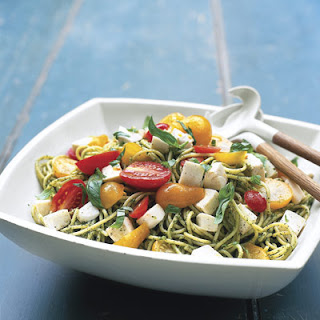 Spaghetti with Pesto and Tomato-Mozzarella Salad
