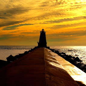 Forced Sunset by Theodore Schlosser - Buildings & Architecture Public & Historical ( lake michigan, sunset, lighthouse, pier, lake )