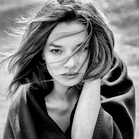 Gust of Wind by Alex Tsarfin - People Portraits of Women ( look, pose, model, b&w, female, black and white, woman, art, beauty, light, hair, portrait, eyes )