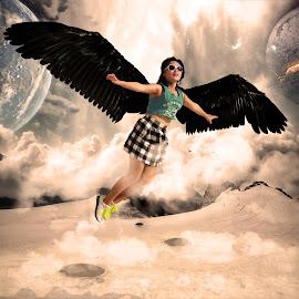 Fantasi World by Ahmad Bayyudh Attamimi - Digital Art People ( fantasy, planet, fly, wings, world )