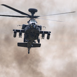 Out of the smoke by Tony Berry - Transportation Helicopters ( helicopter, aircraft, apache, smoke, military )