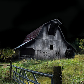 Midnight Farmer by Joel Mcafee - Landscapes Travel ( farm, old, barn, rural, bldg )