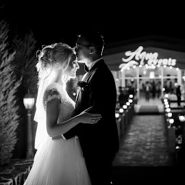 In the night by Klaudia Klu - Wedding Bride & Groom ( black and white, night, bride, groom, portrait )