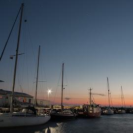 Night in silent marina by Piotr Buczek - Transportation Boats ( burgsvik, port, sweden, gotland, yacht, sea, night, marina, baltic, yachts )
