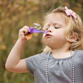 Bubbles! by Roberta Lott-Holmes - Babies & Children Child Portraits ( babies, girl, family, bubbles, portraits )
