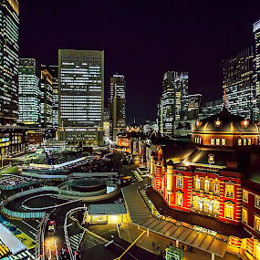 Tokyo Night Time  by Bertoni Siswanto - City,  Street & Park  Night ( cityscapes, city view, night photography, night life, night lights, buildings, night shot, city at night, street at night, park at night, nightlife, nighttime in the city )