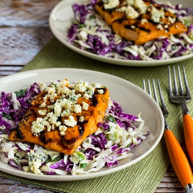 Buffalo-Glazed Grilled Salmon with Blue Cheese Coleslaw Recipe ...