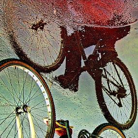 ho ho ho bike to work ..... by Ag Adibudojo - Abstract Fine Art ( reflection, bike, fineart, go to work, teman, adibudojo, people, Bicycle, Sport, Transportation, Cycle, Bike, ResourceMagazine, Outdoors, Exercise, Two Wheels )