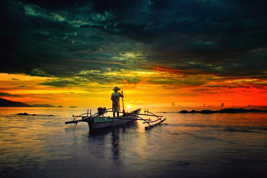 Fisherman by Cipto Korompot - Landscapes Waterscapes