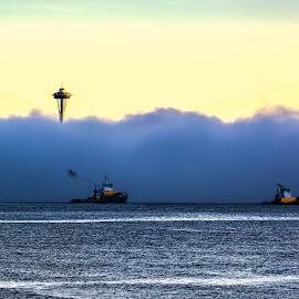 Peak-a Boo by Brad Larsen - City,  Street & Park  Skylines ( water, building, fog, boats, sunrise )