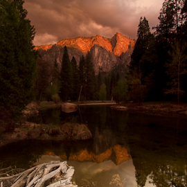 Molten Mountains by Olga Charny - Landscapes Mountains & Hills ( yosemite, merced river )