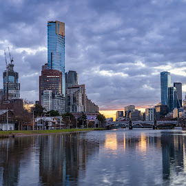 Melbourne city by Keith Walmsley - City,  Street & Park  Skylines ( victoria, reflection, buildings, offices, australia, clouds, river, water, melbourne, landscape, towers )