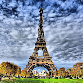 Eiffel Tower by Santanu Maity - Buildings & Architecture Architectural Detail ( eiffel tower, paris, france, landscape, tower )