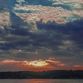 SUNSET by Jennifer  Loper  - Landscapes Sunsets & Sunrises ( oranges, sunset, reds, clouds, purples, lake, blues )