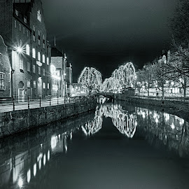 December lights by Nikos Diavatis - Black & White Objects & Still Life ( blackandwhite, sweden, reflections, long exposure, uppsala, longexposure, river )