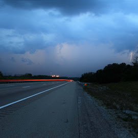 Highway Lights by Jim Dawson - Novices Only Landscapes ( #long-exposure #light-trails #kentucky #storms )