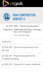 29 CFR 1926 - Subpart H - screenshot