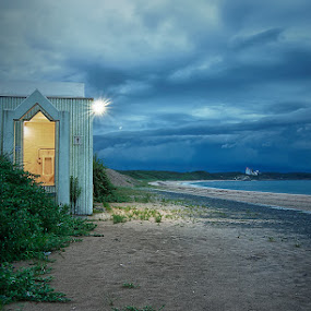 Alone  by Donny Koerniawan - Landscapes Beaches ( toilet, blue, beach, alone )