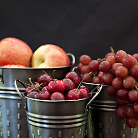 Buckets of Fruit by Sherry Hallemeier - Food & Drink Fruits & Vegetables ( photograph, phone cases, fine art, totes, photography, metalic prints, metal prints, fresh, grapes, metal, fine art photography, card, apples, prints, water droplets, cards, containers, fruit, acrylic prints, cases, buckets, tins, healthyeating, canvas, health, photo, pewter, healthy, summer, freshness, cherries, posters )