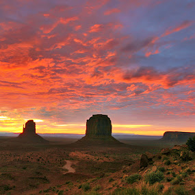 Burning Sky over Monument Valley by Al Juniarsam  - Landscapes Sunsets & Sunrises ( monument valley, navajo tribal park, sunrise, landscape )