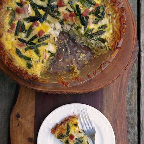 Ham & Asparagus Quiche w Hashbrown Crust