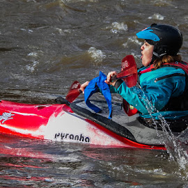 Pyranha by Andrew Lancaster - Sports & Fitness Watersports ( water, canoeing, splash, waterscape, action, canoe, lady, sport, adrenalin, helmet, paddle )