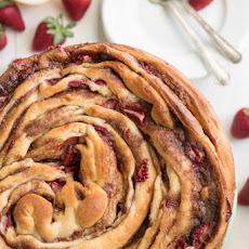 Giant Strawberry Cinnamon Roll Cake