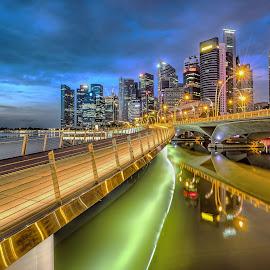 Shenton Way by Gordon Koh - City,  Street & Park  Vistas ( shenton way, clouds, skyline, reflection, building, tall building, blue hour, marina bay sands, architecture, travel, singapore, asia, mbs, long exposure, hotel, jubilee bridge, waterfront )