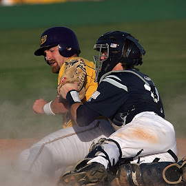 Play at the plate by Keith Johnston - Sports & Fitness Baseball ( competing, catcher, baseball, dust, action, home plate, runner, dirt, athlete, impact, collision, athletic )