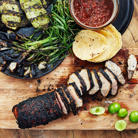 Grilled Pork Tenderloin in Charred-Chile Adobo