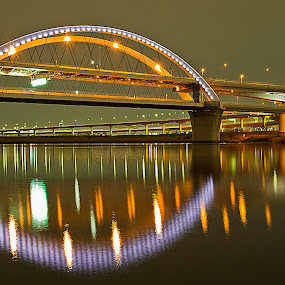 Arakawa Bridge2 by Ketut Pujantara - Buildings & Architecture Architectural Detail ( kawa, tokyo bridge, tokyo, arakawa, bridge, night scene., river )