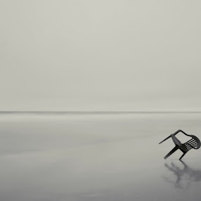 Serenity by Artem Kevorkov - Abstract Fine Art ( black and white, sad, long exposure, ocean, beach )