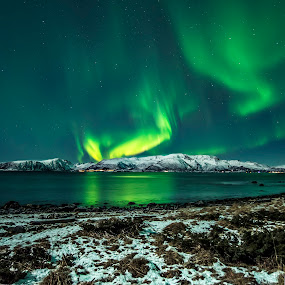 Aurora Borealis by Jens Andre Mehammer Birkeland - Landscapes Mountains & Hills ( mountains, reflection, sky, mountain, grass, stars, snow, northern lights, aurora borealis, star, reflections, sea,  )