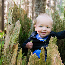 Forest Child by Jarad Carter - Babies & Children Toddlers ( tree, alaska, children, smile, portraits )