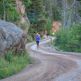 Early Morning Run Up The Mountain by Kathy Suttles - Sports & Fitness Running