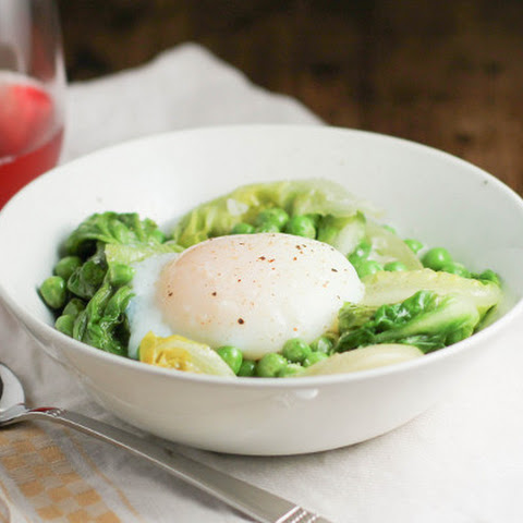 Fresh Peas with Lettuce and a Sous Vide Egg