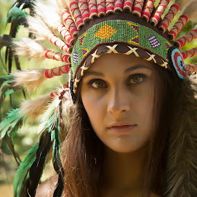 Native American Girl / Jackie 004 by Barry Blaisdell - People Portraits of Women ( sexy, model, nature, outdoors, beautiful, indian, native american )