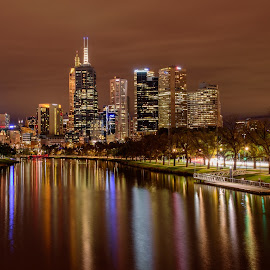 Magnificent Melbourne by Scott Cove - City,  Street & Park  Skylines ( water, skyline, reflection, melbourne, australia, buildings, night, victoria, river )