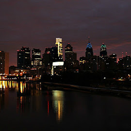 Philly before sunrise. by Valerie Stein - Buildings & Architecture Architectural Detail ( city at night, street at night, park at night, nightlife, night life, nighttime in the city )