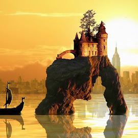 New and Old by Charlie Alolkoy - Illustration Buildings ( water, skyline, sunset, ocean, castle )