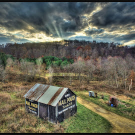 Mail Pouch Barn by James Rudick - Buildings & Architecture Other Exteriors ( drone, hdr, mail pouch, barn, sunset, aeiral photography, quadricopter )