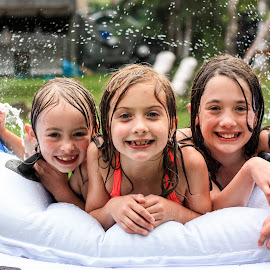 Water Slide w/ Cousins by Heather Tuckness Sottosanti - Babies & Children Children Candids ( poolparty, cousins, summertime, waterslide, summerfun )