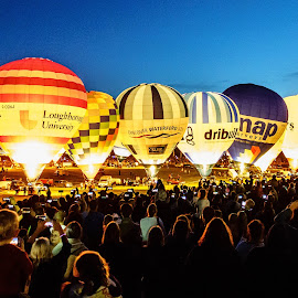 Bristol Balloon Festival at Night by Mick Wells - Transportation Other ( smartphones, night, balloons, crowd )