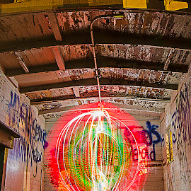 Caboose #4 by Jamie Rabold - Abstract Light Painting ( lights, caboose, light painting, orb, night photography, lightpainting, light trails )