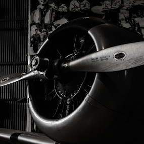 by Sikender Baig - Products & Objects Technology Objects ( plane, propeller, black and white, fan, classic, old plane )