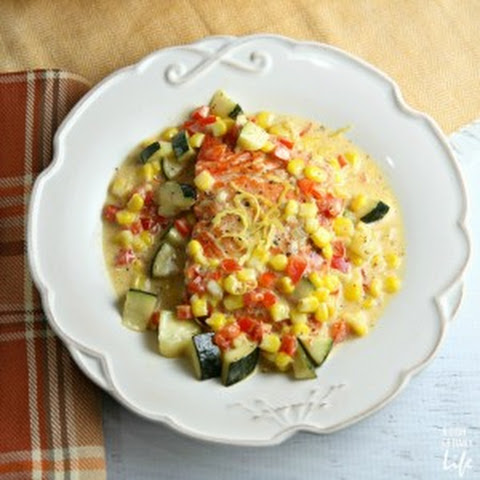 Salmon with Zucchini and Corn Cream Sauce