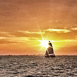 Sunset and Sailboat 2017 by Lorna Littrell - Instagram & Mobile iPhone ( water, waterscape, sunsets, sunset, sea, boat, sailboat,  )