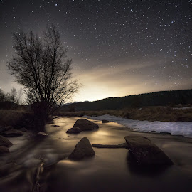 Down Stream by Zach Hanson - Landscapes Starscapes ( stars, rocky mountains, colorado, long exposure, rocky mountain national park, river )
